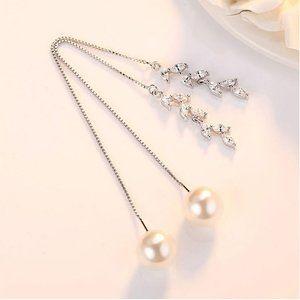 NEW Sterling Silver Pearl Diamond Leaf Earrings